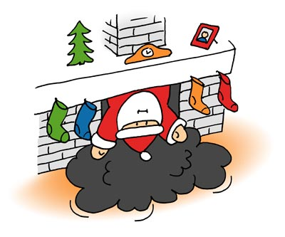 Der Weihnachtsmann im Kamin